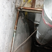 46 We also fixed a pipe leak by cutting and installing a new piece of copper pipe