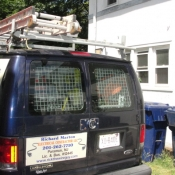 47 A picture of the work van at the rear of the house