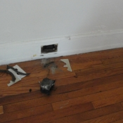 09 A dining room outlet and box was completely removed along with some knob and tube wiring