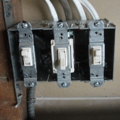 11-New three gang switch box for an outdoor light, stairway light and a basement light