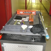 13 All our tools and materials are placed onto several carts to keep everything mobile