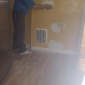 03 Sanding down the spackle in the kitchen