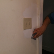 06 Sanding the spackle upstairs in the hallway