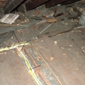 45 Attic floor boards were taken up to allow the wires to be ran through the joists. The attic floor boards were screwed back down after the installation